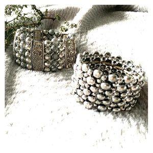 2/$20 Silver Stretch Cuff Bracelets